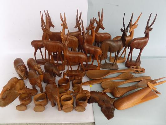 Large box of carved animals