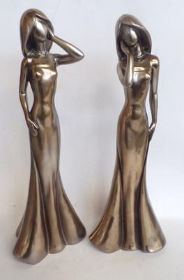 Pair of tall figures of posing ladies. Approx 17""