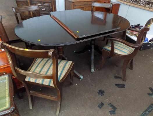 Dining extendable table and four chairs including 2 carvers, some require attention