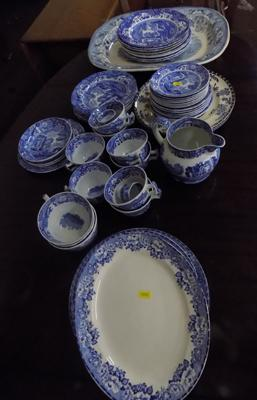 Selection of blue and white pottery including Spode