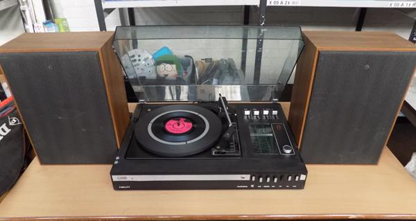 Vintage Fidelity record player with speakers
