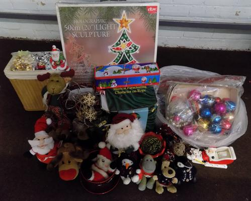 Large box of Christmas decorations