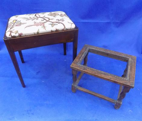 Oak dressing table stool and one other