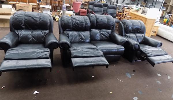 Black leather reclining sofa and 2 reclining chairs