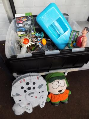 Large box of toys inc Southpark, Star Wars, Xbox 360 games etc