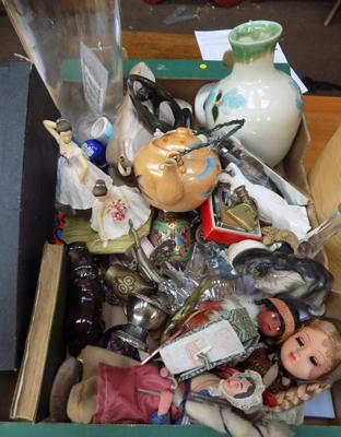 Box of mixed collectables including miniature brasses