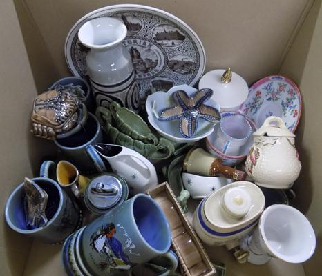 Box of ceramics, mostly Wade pottery