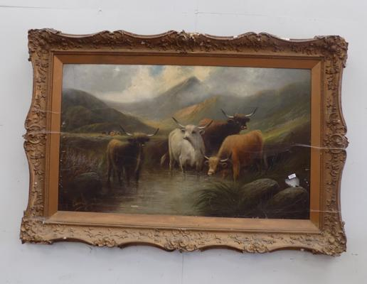 Large framed picture of Highland scene with damage to frame and pic
