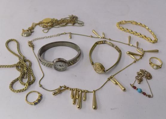 Small selection of costume jewellery + two watches