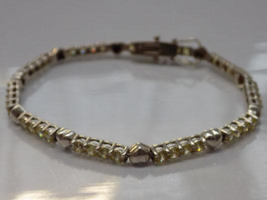 925 silver bracelet with yellow gemstones