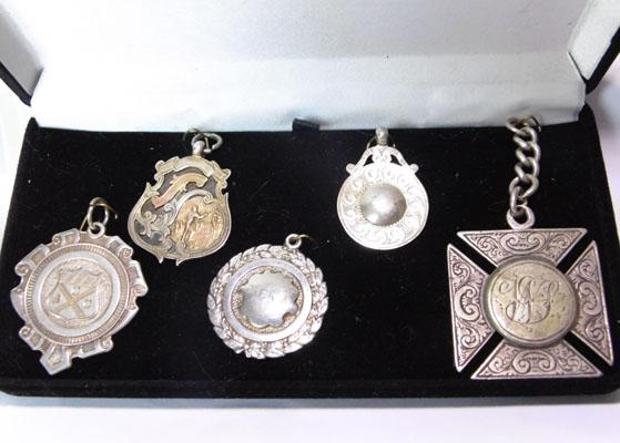 Collection of silver and gold fob pendants