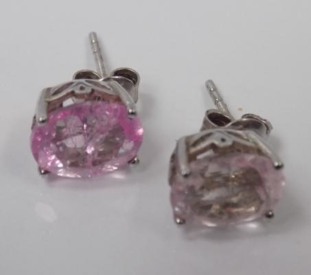 Silver large pink stone earrings