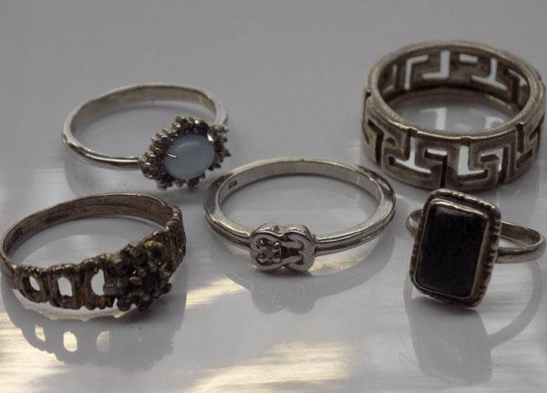 5 x 925 silver rings