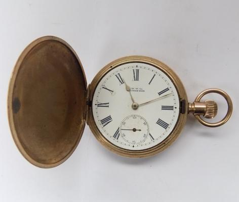 Gold plated, Hunter, gent's pocket watch