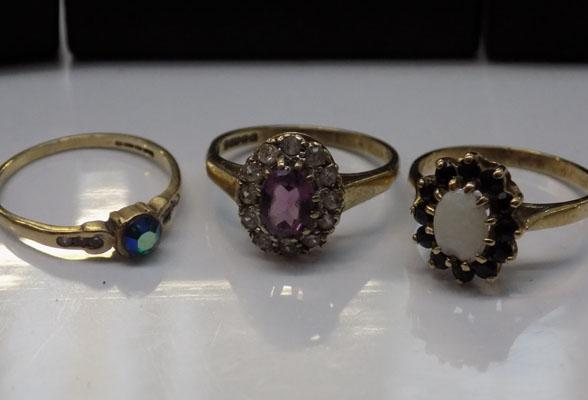 3 x gold rings, 9ct gold