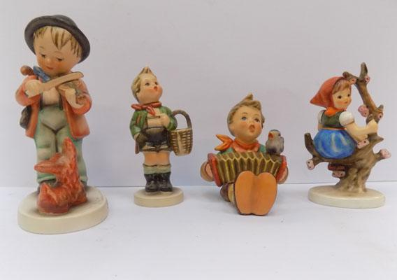 4 Hummel figures - Lets Sing, Village Boy, Apple Tree Girl and Puppy Love