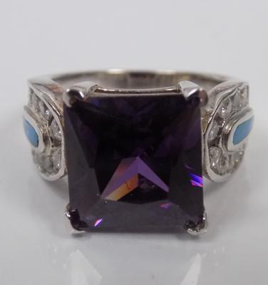 Silver large amethyst and opal ring