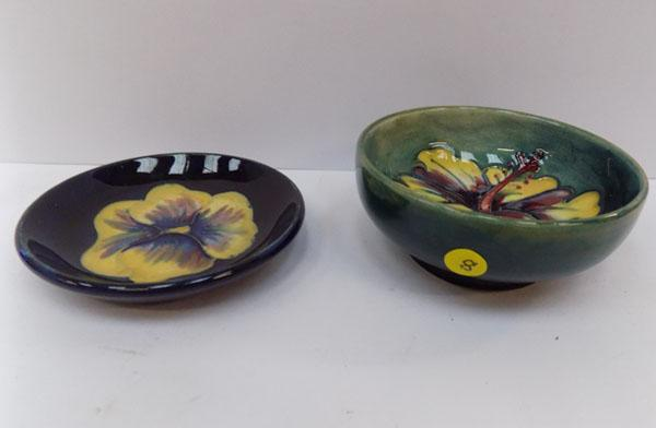 2 floral pattern Moorcroft pin trays (paper stickers to base)
