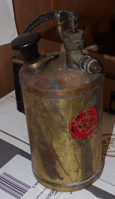 Brass spraying canister, vintage, possibly alarm project