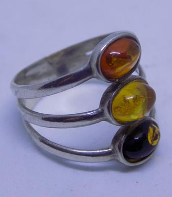 925 silver  2 stone Baltic Amber ladies ring - size P