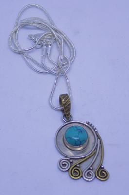"925 sterling silver and gold turquoise pendant on 18"" silver neckchain"
