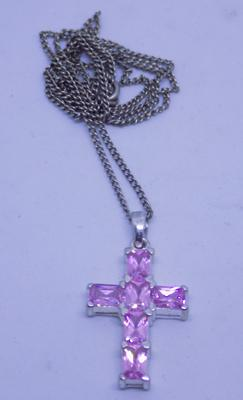 925 sterling silver 22inch neckchain and silver pink topaz crucifix/cross