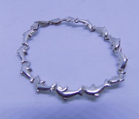 925 sterling silver dolphin bracelet with lobster claw fastener