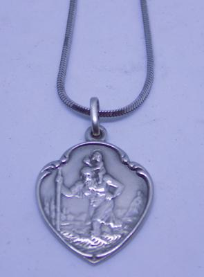 "Vintage 925 silver St Christopher on 16"" long silver box link neck chain"
