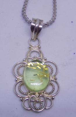925 sterling silver box chain and large stone in 925 pendant