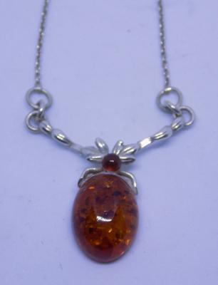 925 sterling silver and Baltic Amber drop/pendant necklace
