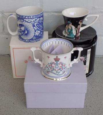 Three boxed china cups incl. Spode, 100 year Queen Mother + Deco