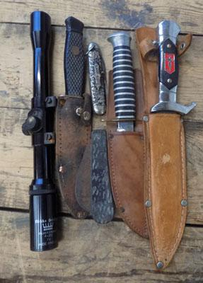Collection of knives and sheaths, scope etc