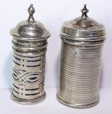 "2 silver salt and pepper pots marked Birmingham (approx 3"")"