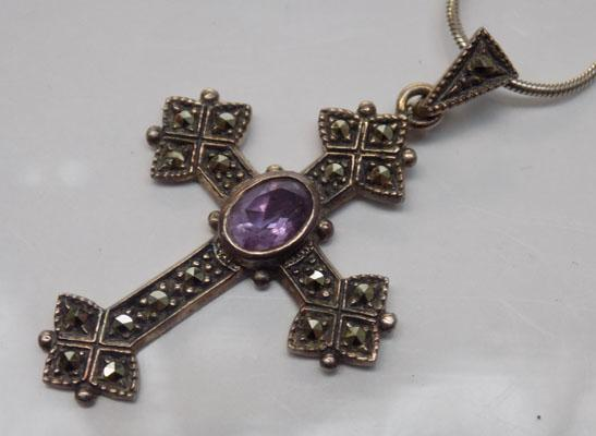 925 silver cross with amethyst centre stone and marcasite detail on a silver snake chain