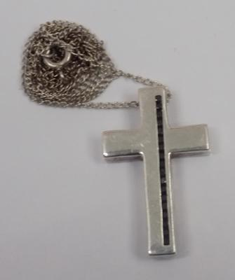 Stone set silver cross on silver chain