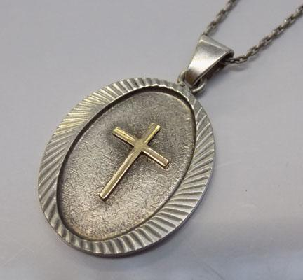 Vintage silver cross pendant on fine white silver chain