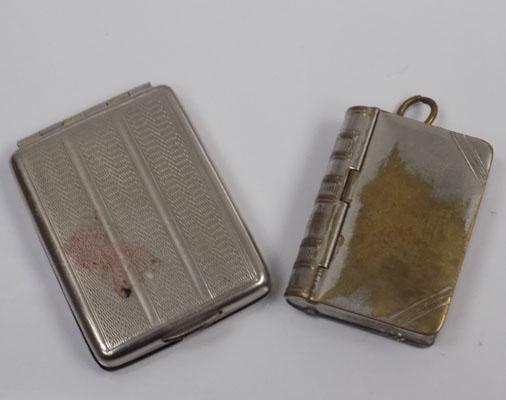 2 white metal cases; book for matches and Vesta with stamp compartment
