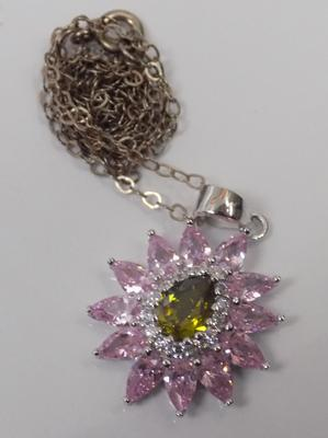 Unusual pink and green stone silver pendant on silver chain