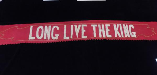 Antique handmade Edwardian - 'Long Live the King' banner - circa 1901, Edward VII