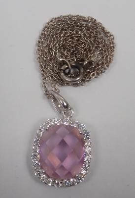 Silver chain with large pink stone silver pendant