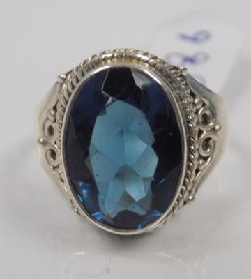 Antique style large blue stone silver ring