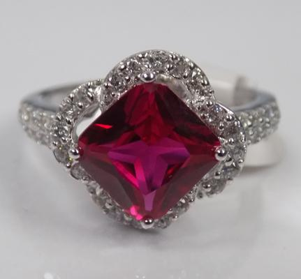 Deco style large red stone ring