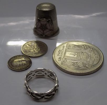 Silver ring and other vintage items