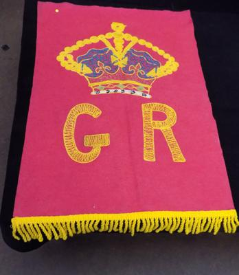 Antique handmade - Street party banner - George V Coronation - circa 1910, 23 inches x 35 inches