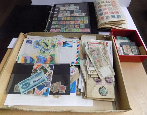 2 albums and tray of stamps & notes