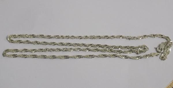 "Silver twist link rope chain (24"") stamped 925"
