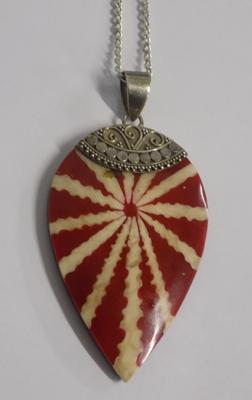 "Large unusual red stone silver pendant on long silver chain (28"")"