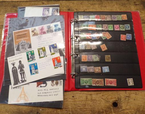 One album of British stamps & 8 First Day covers, 1970-1974 + 3 First day issue cards