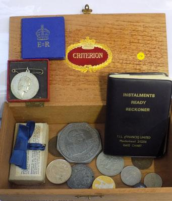 Box of collectables and coins