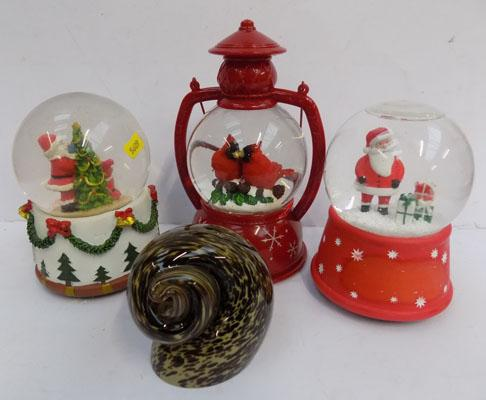Three Christmas snow globes + paperweight